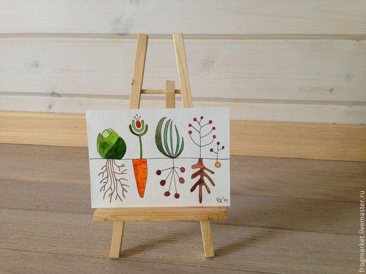 Купить Маленький огород - оливковый, зеленый, зеленый цвет, огород, иллюстрация, ботаника, акварель