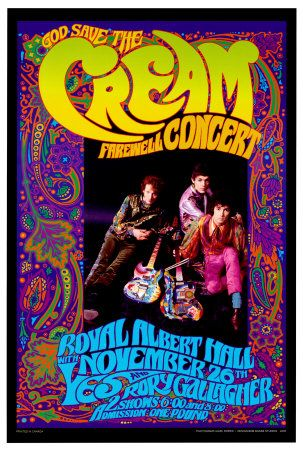 "Cream was one of rock's first ever supergroups, consisting of Ginger Baker, Jack Bruce, and legendary guitarist Eric Clapton. Though active for only three short years in the 60's, the band left their mark with songs like ""White Room"" and ""Sunshine of Your Love."" They were listed as #16 on VH1's 100 Greatest Artists of Hard Rock. This poster features a live concert promotional flyer, with psychedelic art surrounding the band."