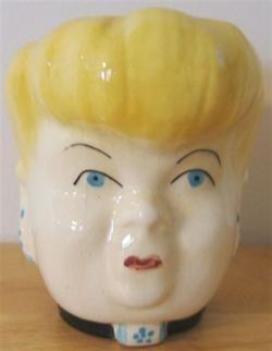 Vintage Aunt Bea Style Ceramic Lady Head Vase 1950s   152