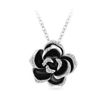 LZESHINE Esmalte Preto Flor Rosa Colar de Pingente de Ouro Rosa/Placa de Prata colar de flores de Cristal Austríaco Colares NL0003
