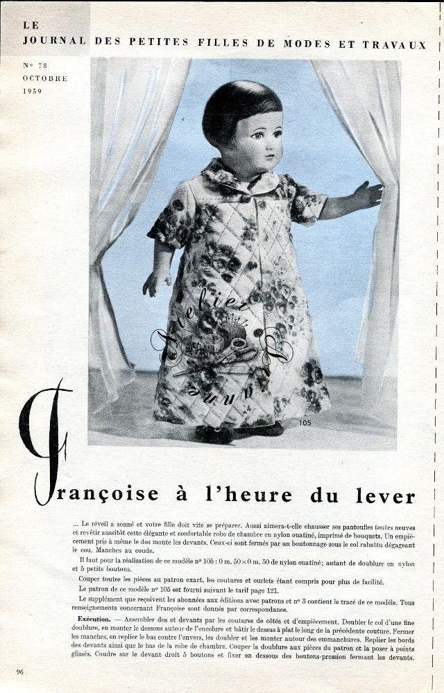 ❤ Page originale, Poupée Françoise MODES ET TRAVAUX, octobre 1959 ❤ : 1,99 EUR