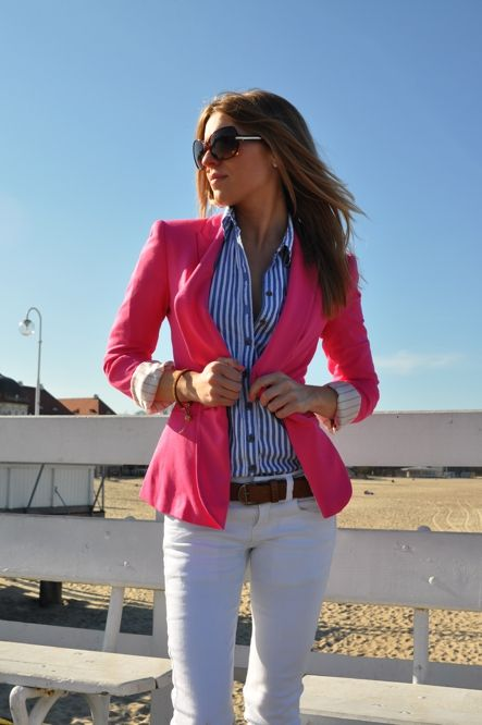 pink blazer and blue and white striped top: Light Pink Blazers, Hot Pink Blazers, Outfits, Hotpink, Style, Stripes Shirts, White Pants, White Jeans, Business Casual