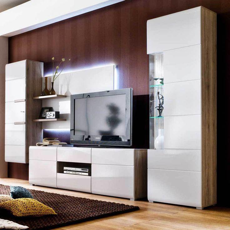 TV Wand in Hochglanz Weiß Eiche San Remo LED Beleuchtung (3-teilig) | Wohnzimmer > TV-HiFi-Möbel > TV-Wände | Weiß | Holzwerkstoff | BestLivingHome