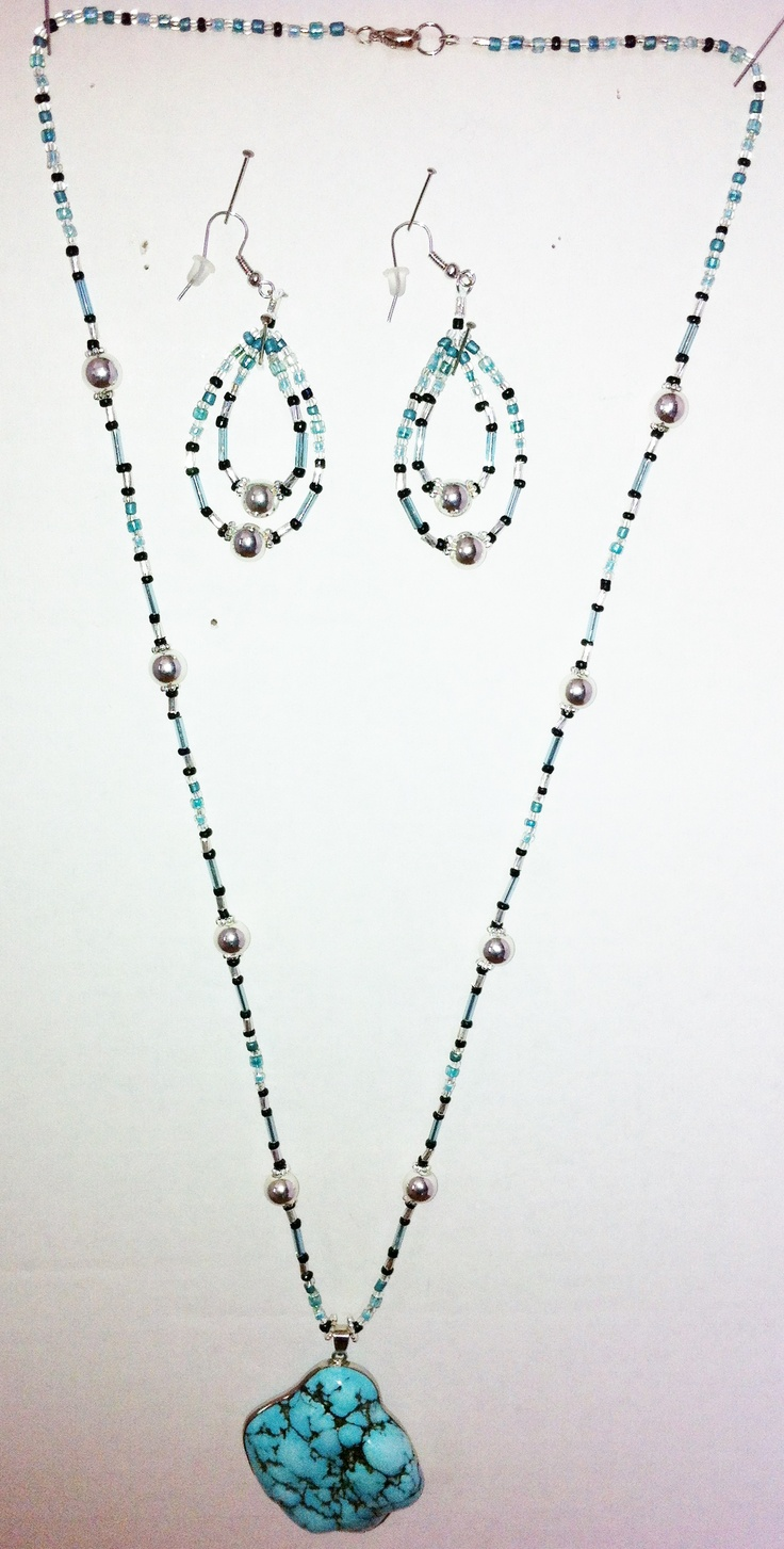 """Turquoise$30.00/set.(Sold as set only)Also made with glass beads, silver plated beads, Medallion is for Healing. Turquoise is used for many things.It can """"Protect against Negative Energy"""", bring """"Good Fortune"""", brings """"Friendship & Peace"""" to you, It can help """"Gout"""" """"Stomach& Viral Infections"""" """"Increases Growth & Muscular Strength"""" """"Alleviates Pain, Relaxes Cramps"""",Silver is associated with """"Moon""""&""""Feminine"""" energy, Silver is helpful in getting more in touch with""""Deep Emotions""""""""Intuition"""""""