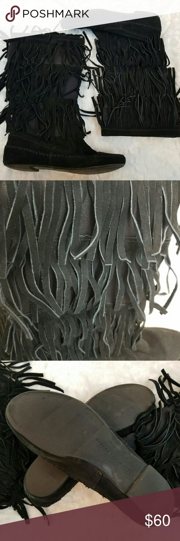 LC Lauren Conrad Mikka Fringe Suede Mocassin LC Lauren Conrad brand Mikka style  Suede fringe Mocassin LC Lauren Conrad Shoes Ankle Boots & Booties