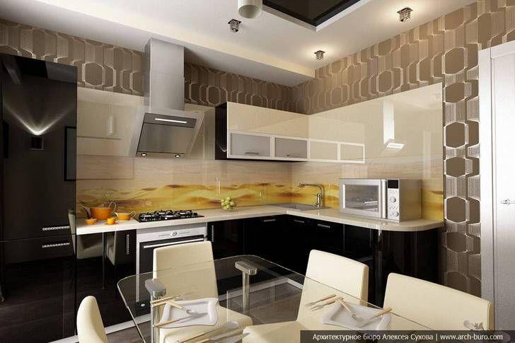 Кухня в стиле хай-тек показывает, что кухонный гарнитур для небольшой комнаты 8 кв м тоже может быть удобным, красивым и функциональным.