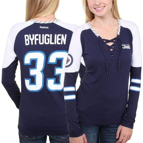 Dustin Byfuglien Winnipeg Jets Reebok Women's Faceoff Player Lace-Up Long Sleeve T-Shirt - Navy Blue - $23.99