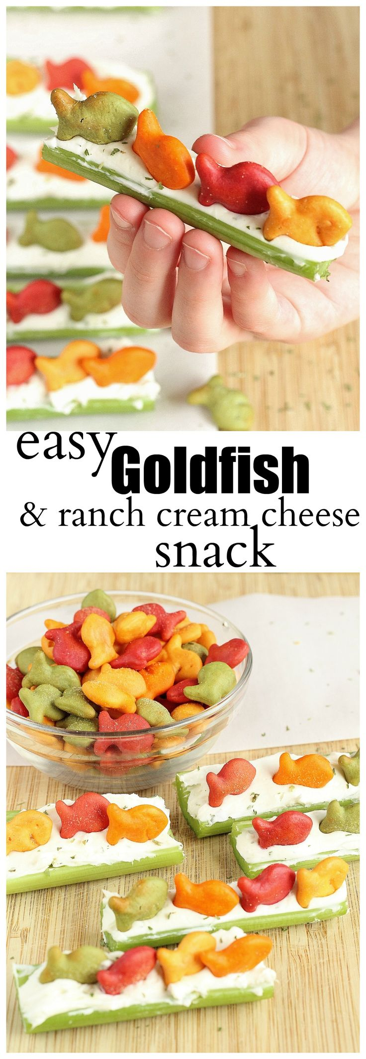 Celery topped with ranch cream cheese and Goldfish® crackers.