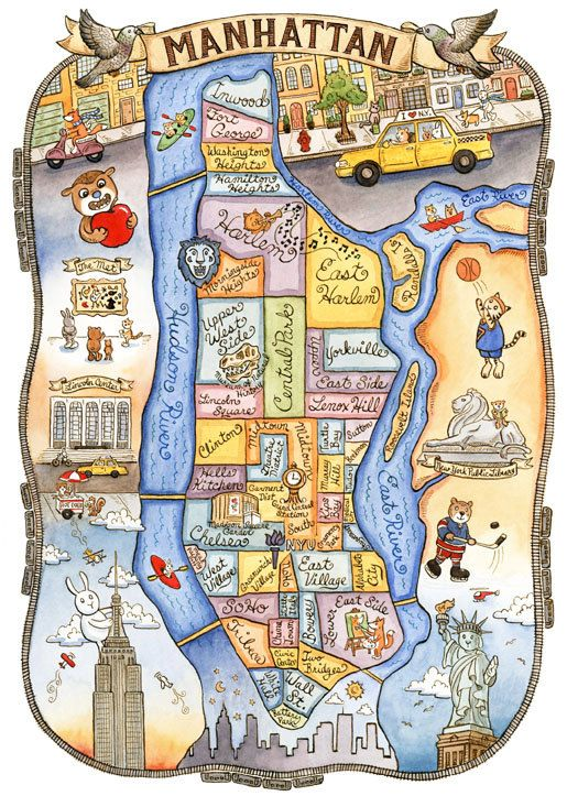 New York City Neighborhood Map! This is a print from an original watercolor and ink illustration. The image measures 9 38 x 6 1/2 printed on 8 x 10 acid free matte fine art paper with archival inks. It comes titled and signed. Packaged with acid free board sealed in a clear sleeve and