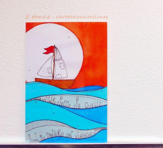 Stampa 10 x 15 - Barca  di ebmela - cartatelecolorilinee su DaWanda.com