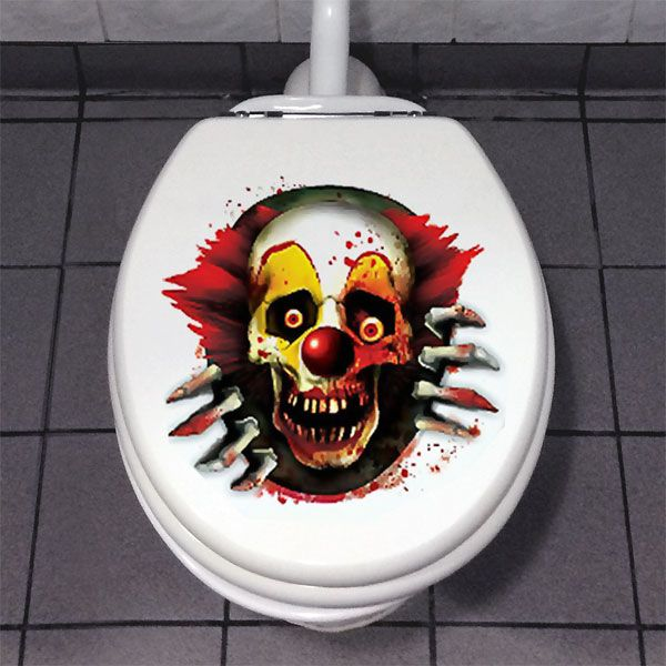 Scary Clown Toilet Decoration - 60cm Halloween Decoration £2.49 each