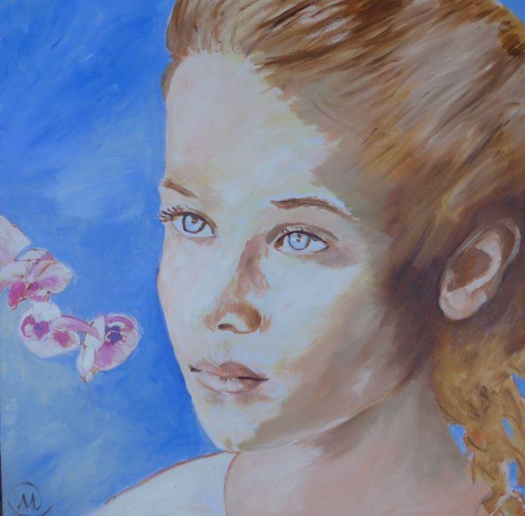Mariska Sens. Meisje met de orchidee. Een dromerig meisje met een orchidee.