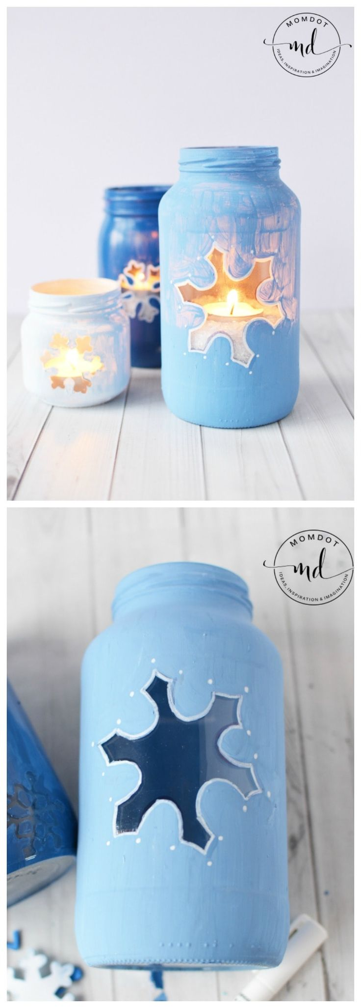 Snowflake Mason Jar DIY | Christmas Mason Jar Tutorial | How to Paint Mason Jars for Centerpieces