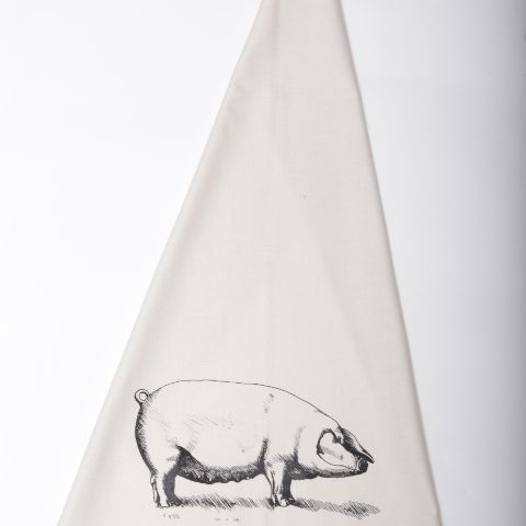 Farmyard Pig Print Cotton Tea Towel | giftwrappedandgorgeous.com