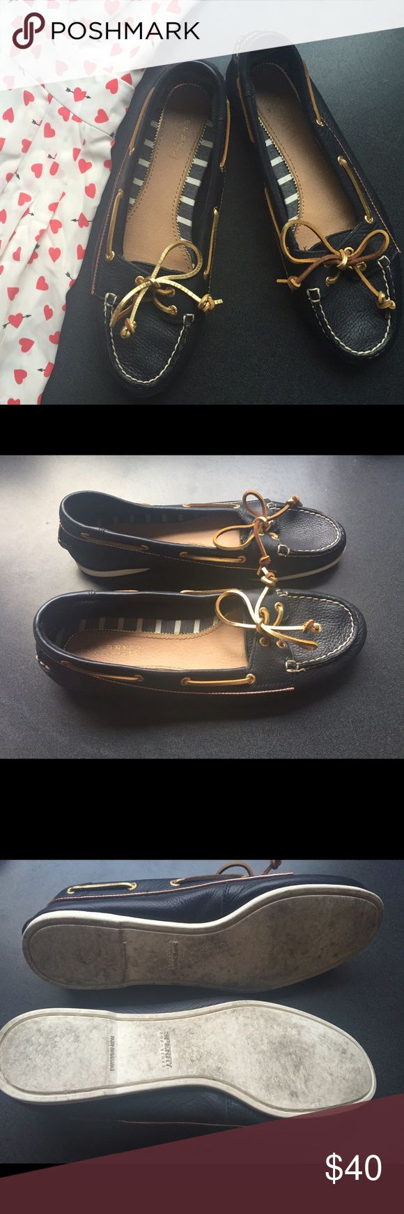 Navy + gold leather Sperry Topsiders (Audrey) Preppy, girly Sperrys...worn only a handful of times. Leather upper. These shoes are very soft and comfy. They don't make the Audrey anymore! Sperry Top-Sider Shoes Flats & Loafers