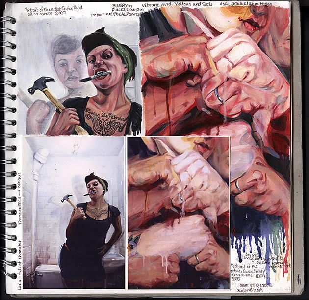 A Level Art sketchbook page (A*) by A2 Fine Art student Claire Lynn. Partial imitation of artist works allows students to learn techniques and processes.