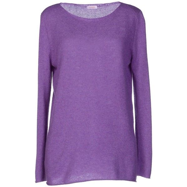 Rossopuro Jumper ($145) ❤ liked on Polyvore featuring tops, sweaters, mauve, cashmere top, extra long sleeve sweater, pure cashmere sweaters, jumper top and purple jumper