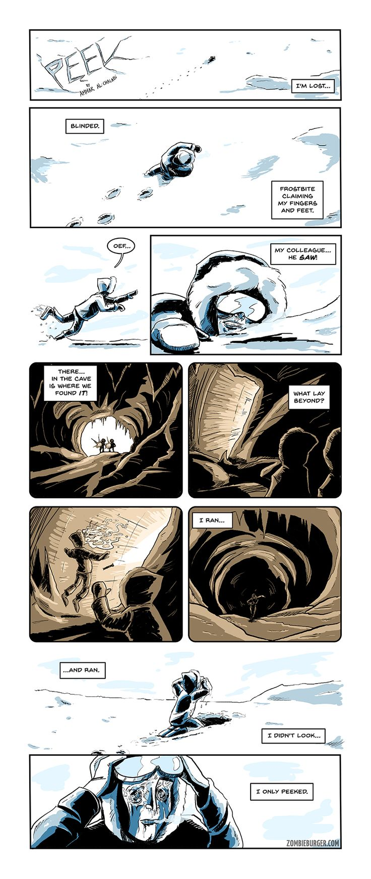PEEK. A one page horror comic (Lovecraft / The Thing)