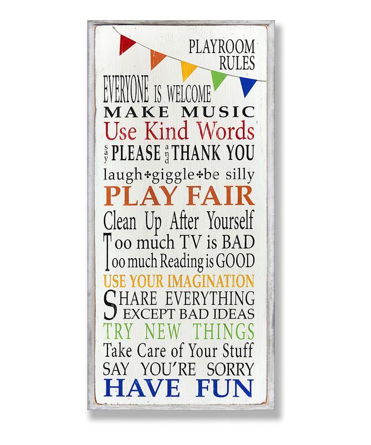Playroom Rules Rainbow Wall Plaque