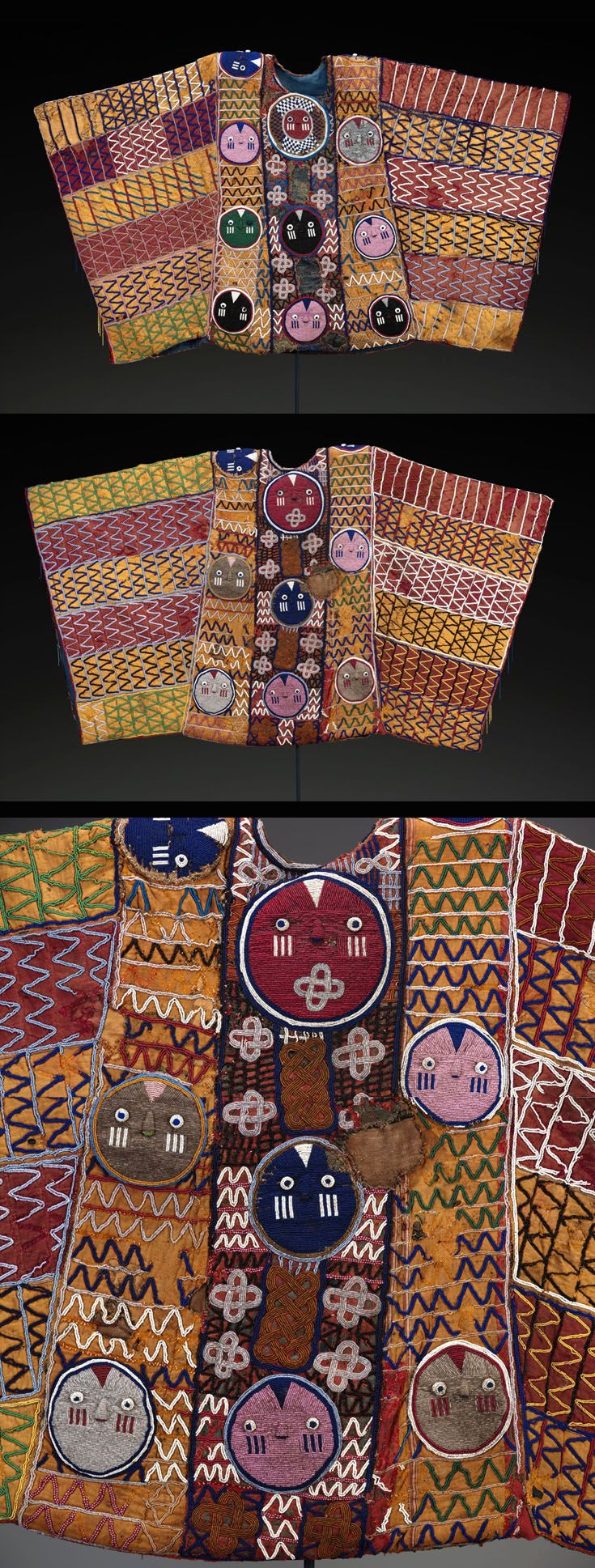 Africa | King's ceremonial robe from the Yoruba people of Nigeria. | Velvet, cotton, glass beads | ca. 1925 - 1950
