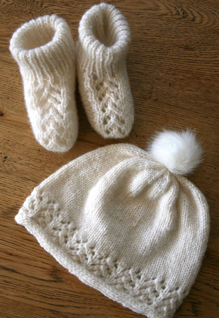 Free Until Jan 10, 2017 Knitting Pattern for Toitoi Booties and Beanie - Free until Jan. 10, 2017 Only Lace and stockinette baby set. Booties: Newborn (0-3m, 3-6m), Beanie: 0-3m (3-6m, 6-12m, 1-2y, 2-4y). Designed by Charlotte Marjoribanks.