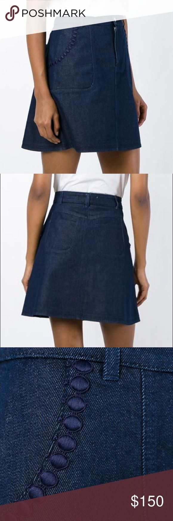 """See by Chloé Denim a line mini skirt - indigo Blue stretch cotton A-line denim skirt from See By Chloé featuring a high waist, a waistband with belt loops, a front button fastening, side pockets, embroidered details, two back patch pockets, a short length and a straight hem. Italian size 44 which is a US 12. Laying flat waist 17"""", length 18"""" See By Chloe Skirts Mini"""