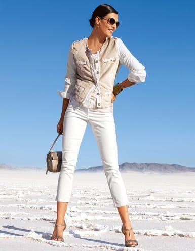 Schlichte, enge Damen 7/8-Jeans in der Farbe wollweiß - elfenbein - weiß - im MADELEINE Mode Onlineshop