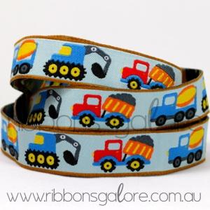 diggers and dump trucks ribbon (17mm wide) [per metre]
