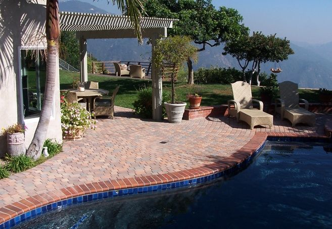 Inground pool with red brick coping pool deck combo for In ground pool coping ideas
