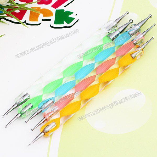 5PCS Nail Art Tool Dotting Painting Transparent Plastic Marbleizing Pen for Beauty China Wholesale - Sammydress.com