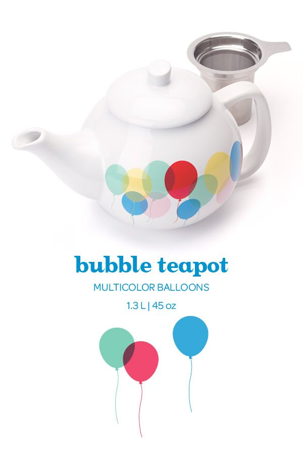 Add an extra smile to any tea party with this fun teapot. Includes infuser.