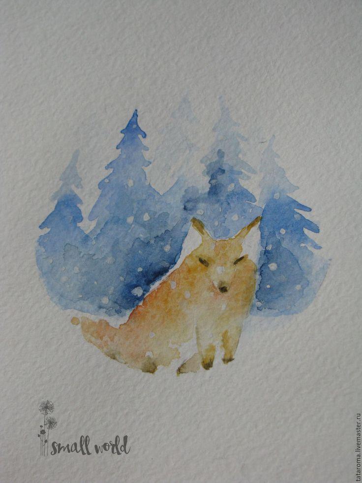 """Купить Авторская открытка """"Лисенок"""" - белый, акварель, акварельный рисунок, Открытка ручной работы, открытка"""