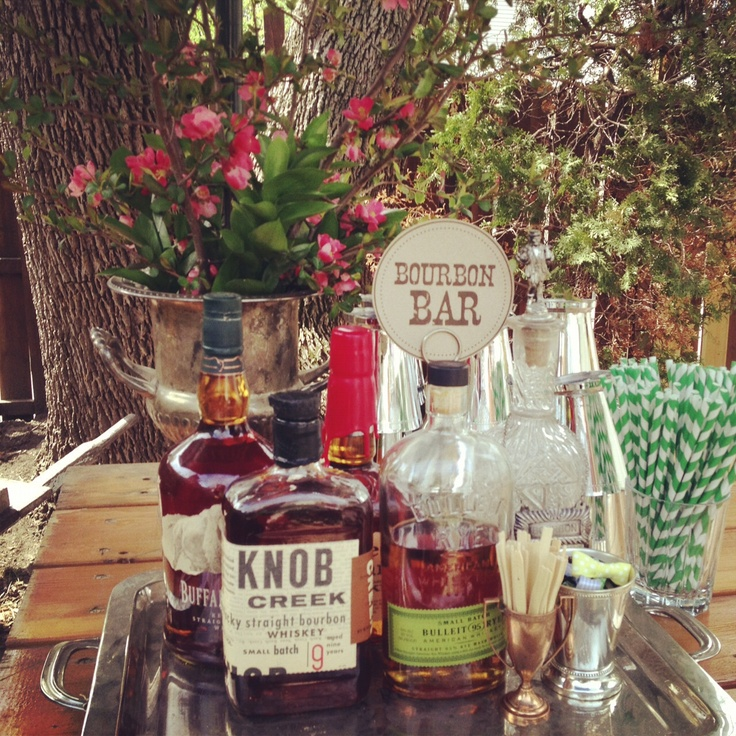 Bourbon Bar for Kentucky Derby party, by oliveandviolet.com