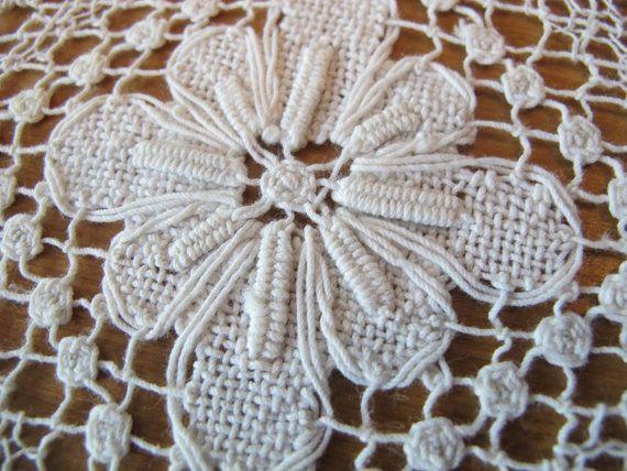 Small Net Runner White handmade Dresser Scarf Mid Century