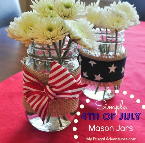 Super simple burlap mason jars- perfect for 4th of July!  Holds candles, flowers, utensils, glow sticks and more...