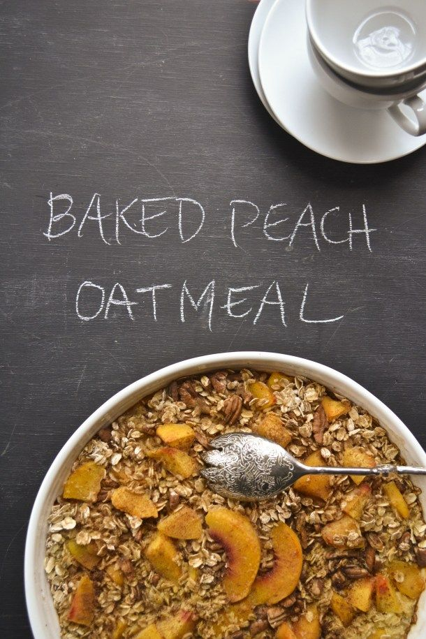 Bake peach oatmeal: sub in your favorite lactose free butter and milk alternatives (and remove the nuts if you have any allergies or find them to be migraine triggers)