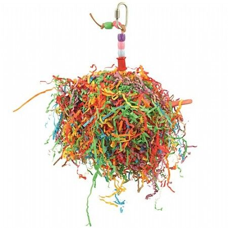 Uw vogel zal genieten van de enorme massa papieren frutsels. Uw Papegaai geniet van het plukken en het gladstrijken en zorgt voor urenlang speelplezier.  Dit speelgoed is gemaakt van een grote geweven wijnstok bal gevuld met honderden papier-strokjes, Bevat tevens ijs-lolly stokjes door het midden geschoven en is opgehangen met een leren band en kleurrijke plastic- en houten kralen.  Tip : verstop hier in een lekkere traktatie zoals bijv. de fruitmix van ZooFaria.