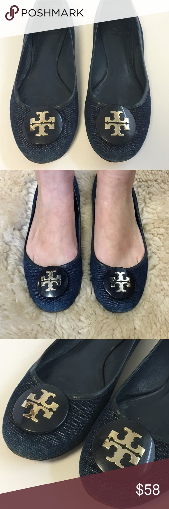 Tory Burch Reva Flats blue denim jean ballet shoes A fun pair of denim blue Tory Burch Reva flats with silver logos. These ballet flats are great for everyday and look good with jeans. These have been loved and worn quite a bit and show wear to the denim and the interior and exterior soles. They still look good on and have lots of life left! Please review all photos and use them as part of the description. These are marked size 8 1/2 and seem like they would work for someone who wears size…