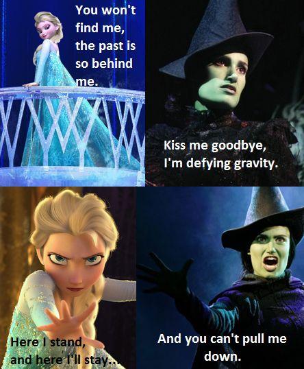 Elsa/Elphaba comparisons.
