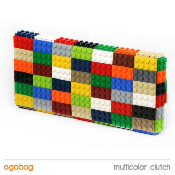 Multi Coloured Clutch Bag Made From Lego