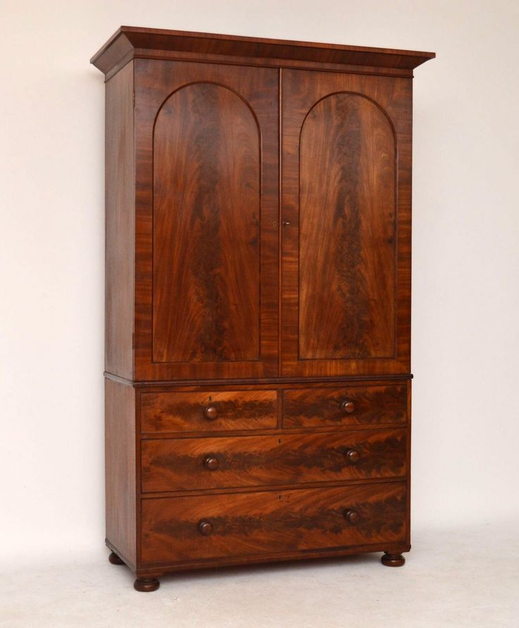 Antique Early Victorian William IV Flame Mahogany Linen Press | Church Street Antiques - Antique Furniture