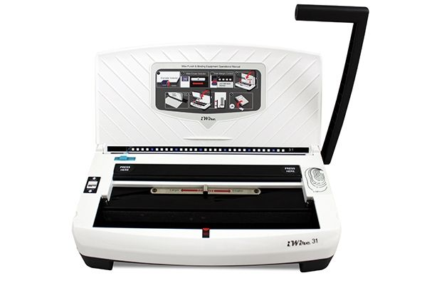 Akiles iWire punch and binding machine features a modern and compact design. The iWire punch and binder is the perfect all-in-one solution for any office environment.