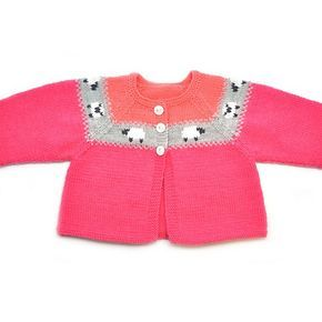 Knitting Pattern Partner Baby Cardigan Girl/Boy - This cardigan of Phildar Baby is sweet right? The cardigan is easily knitted in stocking stitch and the sheep are embroidered on it. Pick these colours or make your own favourite combination, and spoil your kid, neighbour, niece, nephew or another baby girl/boy!
