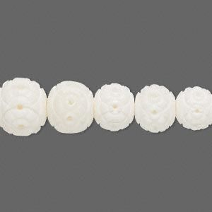 Necklace, bone, white, graduated 4-11mm carved rounds, 18 inches long.