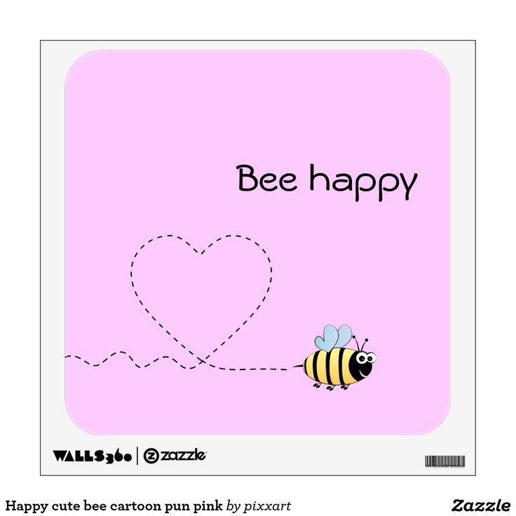 Happy cute bee cartoon pun pink wall sticker