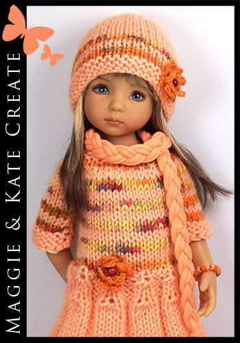 """Peach & Orange Outfit for Little Darlings Effner 13"""" by Maggie & Kate Create"""