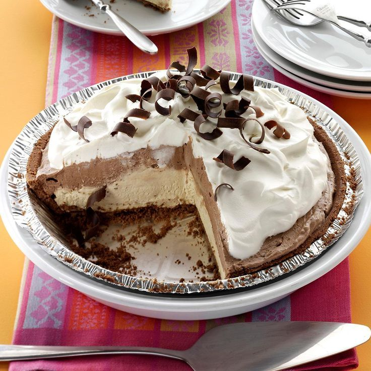Mocha Java Pie with Kahlua Cream Recipe -I'm a big coffee drinker and love the iced and frozen versions, too. This pie was my way of incorporating those flavors into a dessert. —Becky McClaflin, Blanchard, Oklahoma: