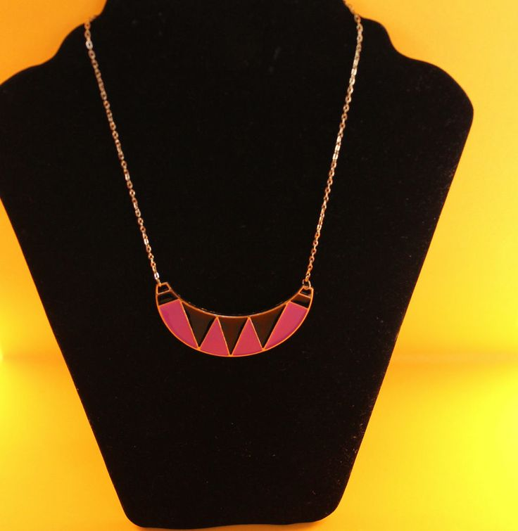 Pink, Black & Gold Necklace