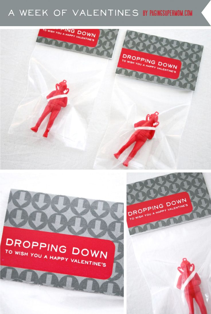 paratrooper valentine + printable. For little boys to give out!! Love it