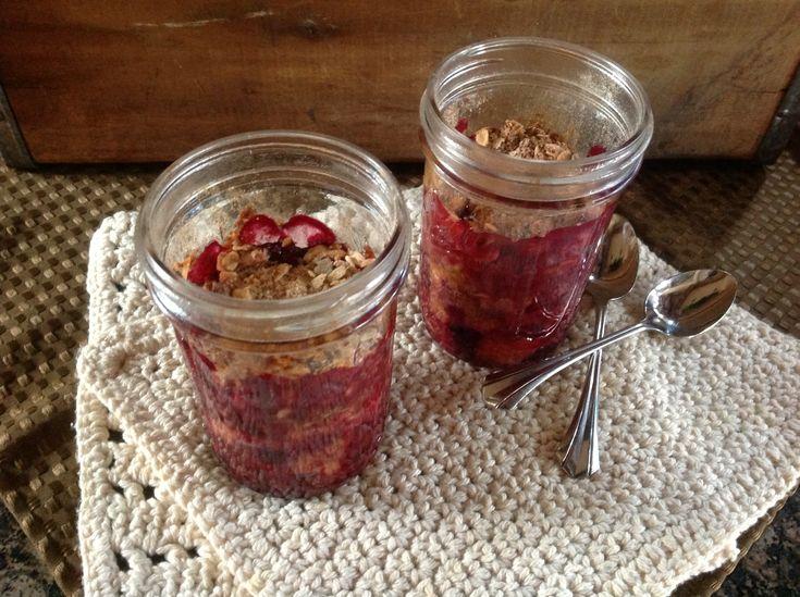 Mason Jar Fruit Crisp